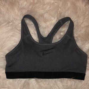 grey Nike Pro sports bra